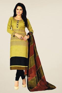 Salwar Studio Olive & Black Cotton Printed Dress Material