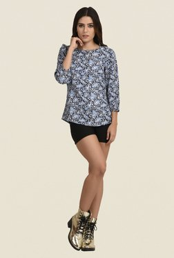 The Gud Look Blue Floral Print Top