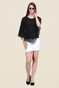 The Gud Look Black Solid Ruffle Top