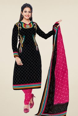 Salwar Studio Black & Pink Cotton Printed Dress Material