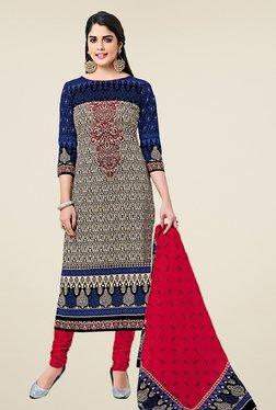 Salwar Studio Beige & Red Cotton Printed Dress Material