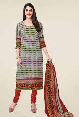 Salwar Studio Grey & Red Cotton Printed Dress Material