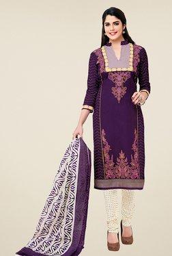 Salwar Studio Purple & Off White Cotton Dress Material
