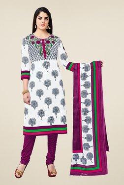Salwar Studio White & Purple Cotton Printed Dress Material