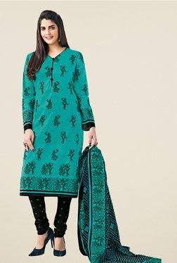 Salwar Studio Teal & Black Cotton Printed Dress Material