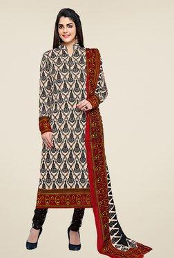 Salwar Studio Cream & Black Cotton Printed Dress Material