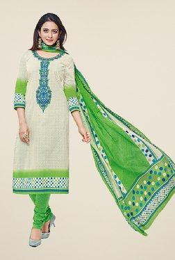 Salwar Studio Beige & Green Cotton Striped Dress Material