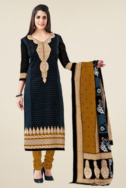 Salwar Studio Black & Mustard Cotton Printed Dress Material
