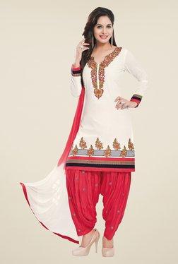 Salwar Studio Off White & Coral Unstitched Patiala Suit