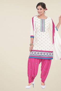 Salwar Studio White & Pink Unstitched Patiala Suit