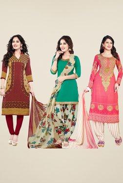 Salwar Studio Maroon, Teal & Pink Dress Material (Pack Of 3)