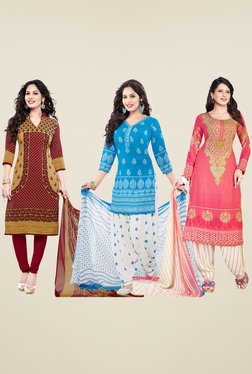 Salwar Studio Maroon, Blue & Pink Dress Material (Pack Of 3)