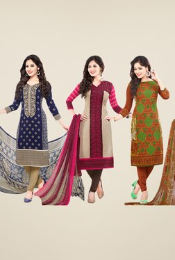 Salwar Studio Navy, Beige & Brown Dress Material (Pack Of 3)