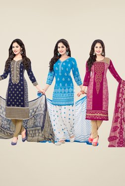 Salwar Studio Navy, Blue & Pink Dress Material (Pack Of 3)