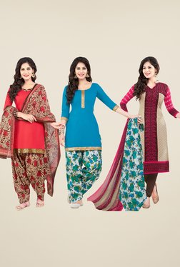 Salwar Studio Coral, Blue & Beige Dress Material (Pack Of 3)