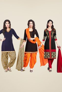 Salwar Studio Navy, Black & Red Dress Material (Pack Of 3)