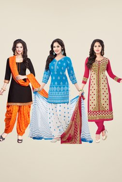 Salwar Studio Black, Blue & Beige Dress Material (Pack Of 3)