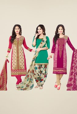 Salwar Studio Beige, Teal & Pink Dress Material (Pack Of 3)