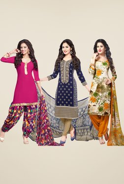 Salwar Studio Pink, Navy & Orange Dress Material (Pack Of 3)