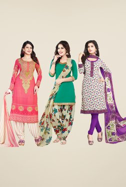 Salwar Studio Pink, Teal & White Dress Material (Pack Of 3)