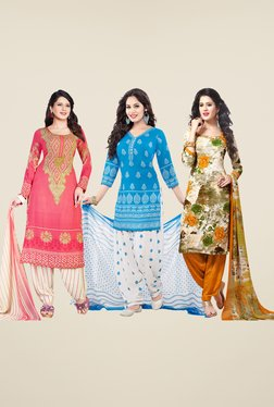 Salwar Studio Pink, Blue & Orange Dress Material (Pack Of 3)