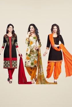 Salwar Studio Red, Orange & Black Dress Material (Pack Of 3)