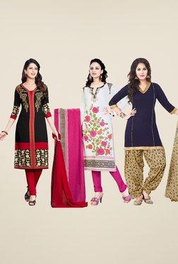 Salwar Studio Black, White & Navy Dress Material (Pack Of 3)