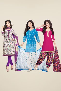 Salwar Studio White, Blue & Pink Dress Material (Pack Of 3)