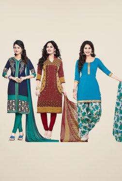 Salwar Studio Navy, Brown & Blue Dress Material (Pack Of 3)