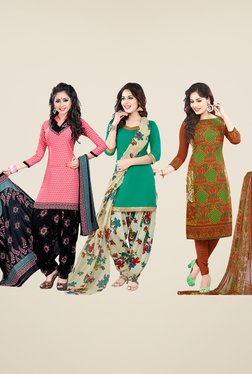 Salwar Studio Pink, Teal & Brown Dress Material (Pack Of 3)