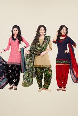 Salwar Studio Pink, Beige & Navy Dress Material (Pack Of 3)