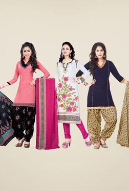 Salwar Studio Pink, White & Navy Dress Material (Pack Of 3)