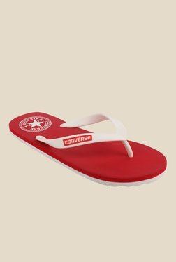Converse White & Red Flip Flops