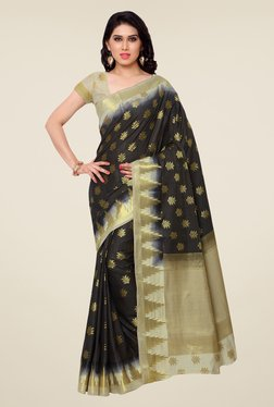 Janasya Black & Beige Printed Kanchipuram Art Silk Saree