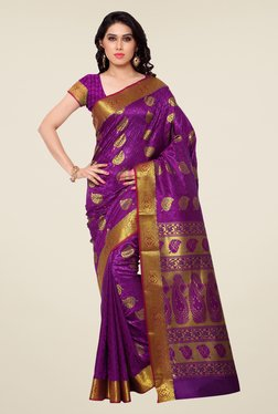 Janasya Purple Printed Kanchipuram Art Silk Emboss Saree