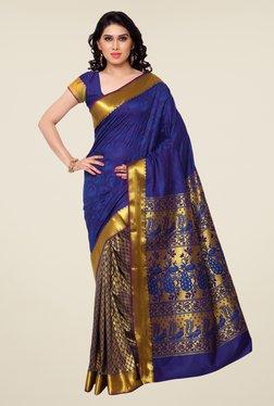 Janasya Gold & Blue Printed Kanchipuram Silk Saree