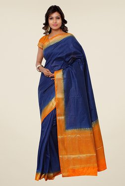 Janasya Blue & Orange Solid Kanjivaram Raw Silk Saree