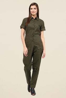 The Gud Look Olive Solid Jumpsuit