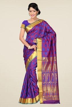Janasya Magenta & Blue Floral Print Art Silk Emboss Saree