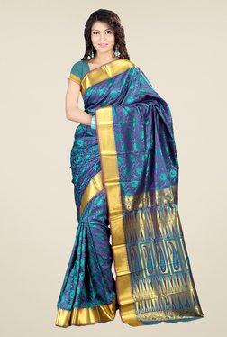 Janasya Purple & Teal Floral Print Art Silk Emboss Saree