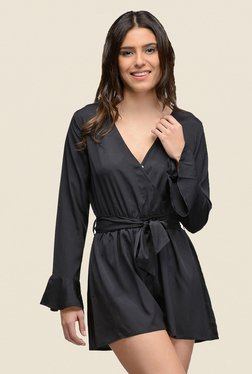 The Gud Look Black Solid Romper