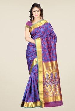 Janasya Purple Printed Art Silk Emboss Saree