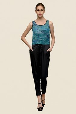 The Gud Look Teal & Black Printed Cropped Style Jumpsuit