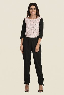 The Gud Look Pink & Black Floral Print Jumpsuit