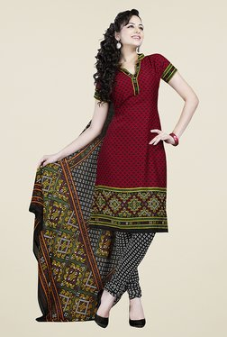 Ishin Brown & Black Printed Unstitched Dress Material