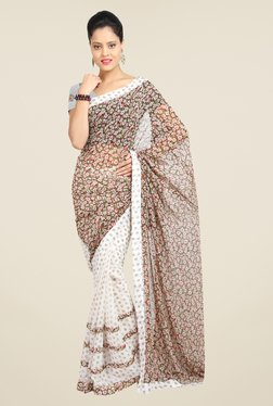 Ishin Off White & Brown Floral Print Faux Georgette Saree