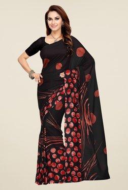 Ishin Black Printed Faux Georgette Saree