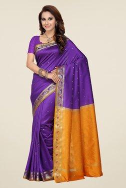 Ishin Purple & Mustard Printed Poly Cotton Saree