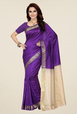 Ishin Purple & Off White Printed Poly Cotton Saree