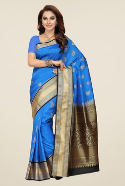 Ishin Blue Paisley Print Tana Silk Saree